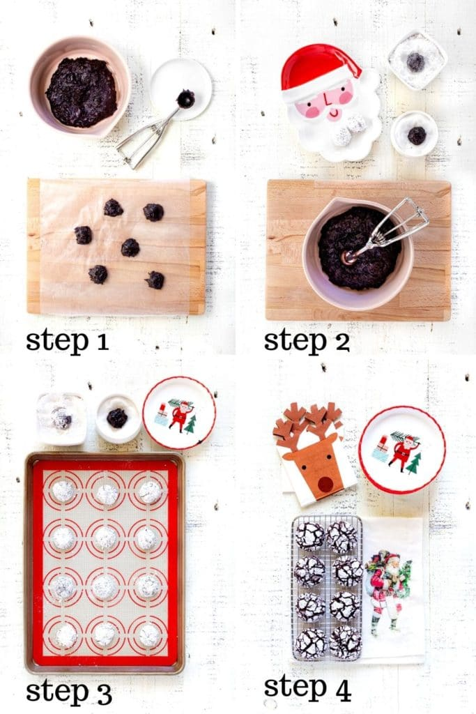 4 overhead images showing how to make crinkle cookies, step by step.