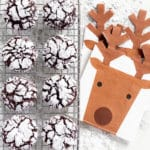 8 chocolate crinkle cookies (AKA crackle cookies) on a wire rack next to reindeer napkins with antlers.