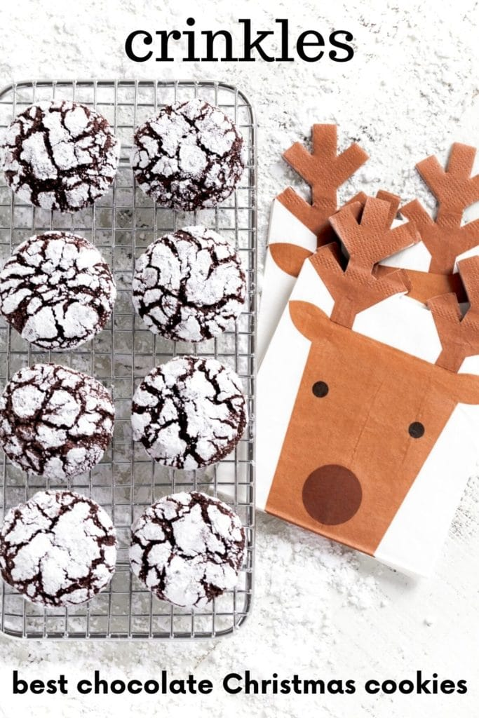 Pinterest Graphic for Chocolate Crinkle Cookies.
