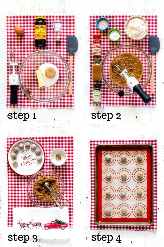 4-image collage showing how to make ginger snap cookies, step by step.