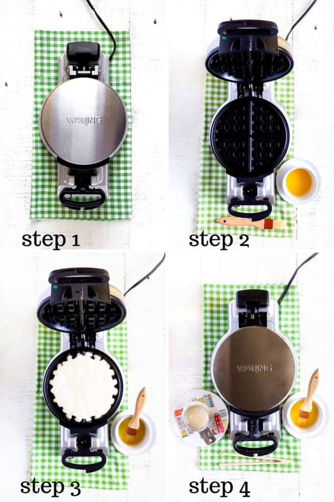 Belgian waffle recipe shown in 4 step-by-step images for making fluffy homemade waffles.