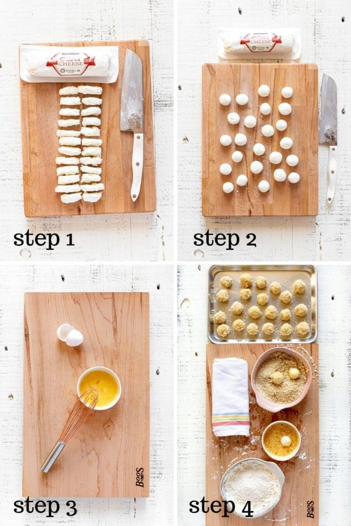Four overhead images showing how to make fried goat cheese balls, step by step.