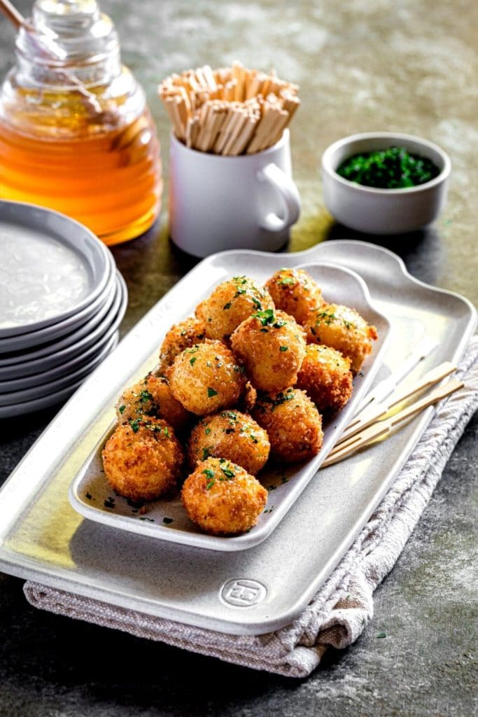 Pinterest graphic for fried goat cheese balls.
