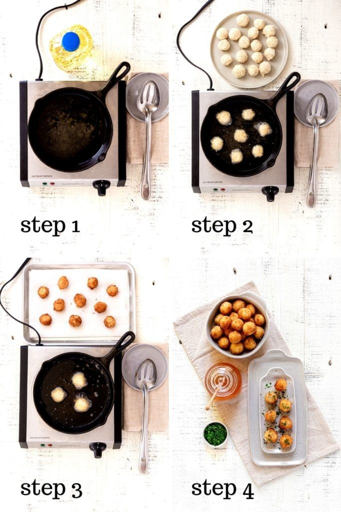 Four overhead images showing how to make fried honey goat cheese balls and garnish them.