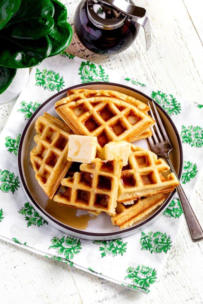 Pinterest image for Best Belgian Waffle Recipe.