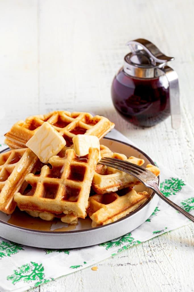 Pinterest image for Belgian Waffle Recipe.