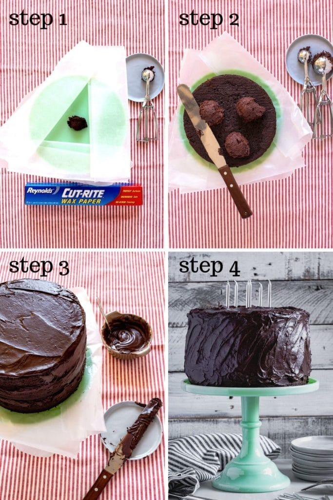 4 images showing how to frost a super moist chocolate cake.
