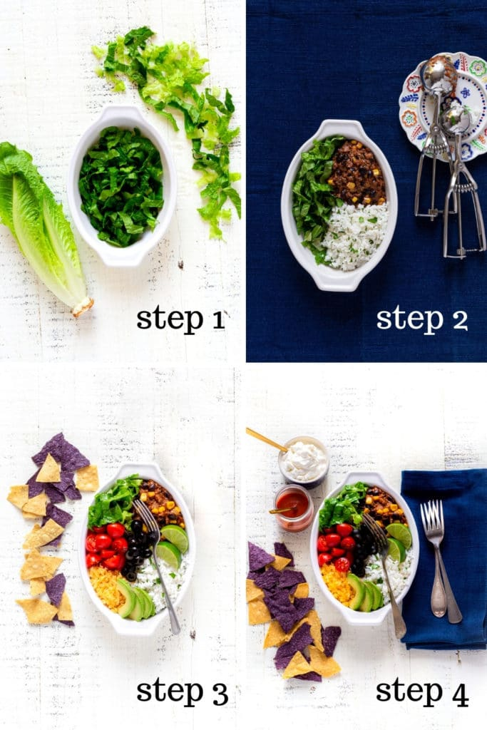 Four images showing how to assemble a homemade burrito bowl.