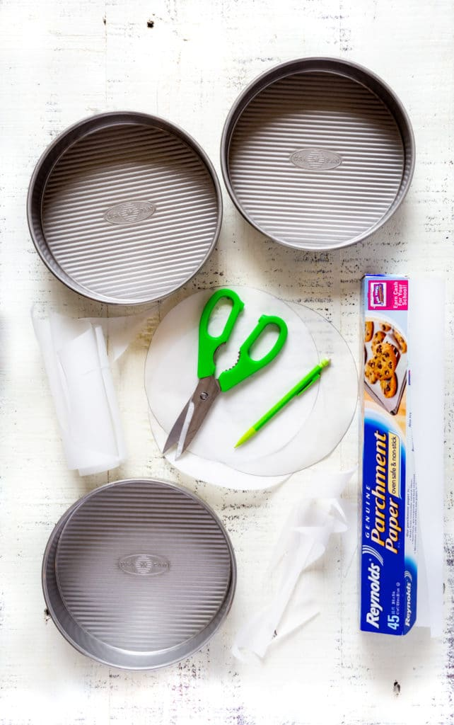 How to make parchment liners for round cake pans.