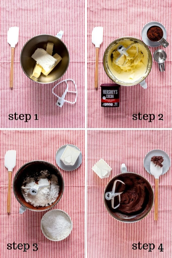 4 images showing how to make chocolate cream cheese frosting for a Matilda chocolate cake.