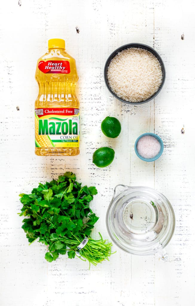 Ingredients for making cilantro lime rice for a healthy burrito bowl recipe.