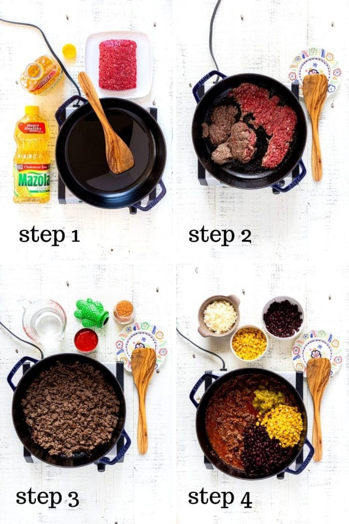 Four images showing how to cook ground beef for healthy burrito bowl recipe.