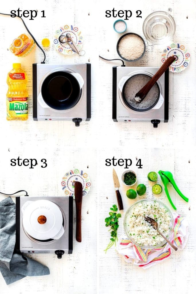 Four images showing how to make cilantro lime rice for burrito bowl meal prep.