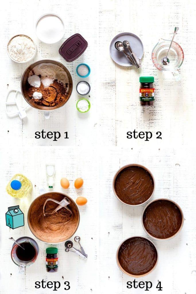 4 Images showing how to make a chocolate birthday cake, AKA Matilda chocolate cake.