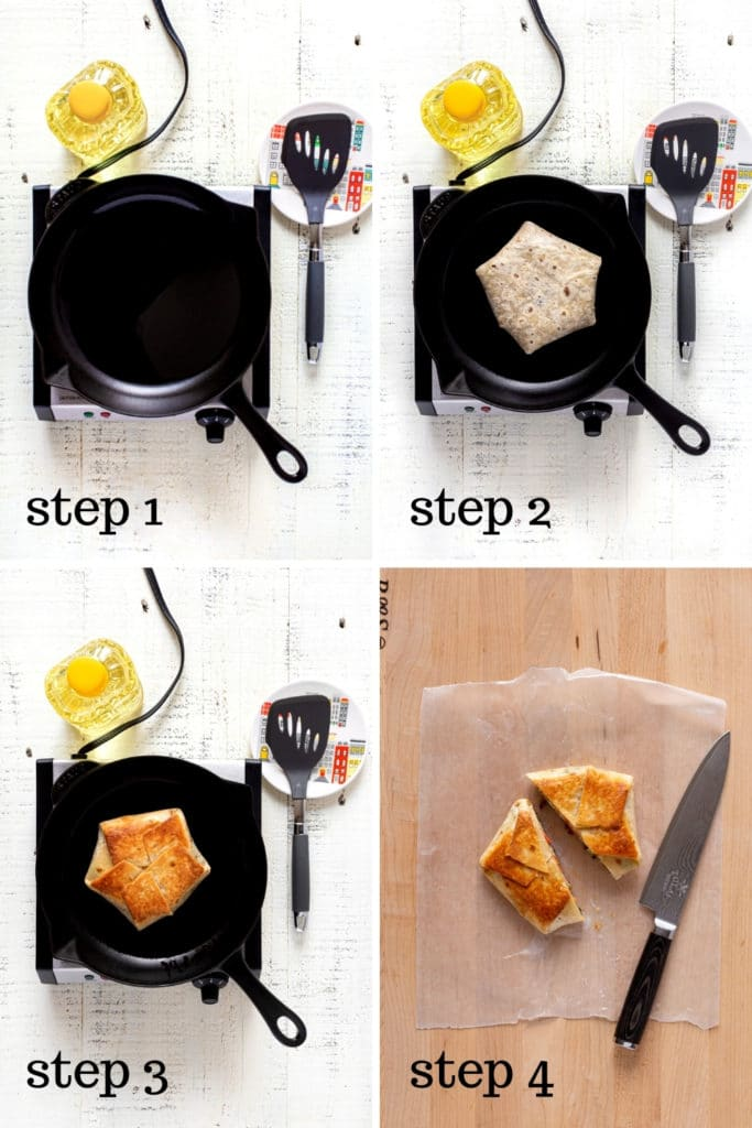 4 images showing how to make a Taco Bell Crunchwrap supreme from scratch.
