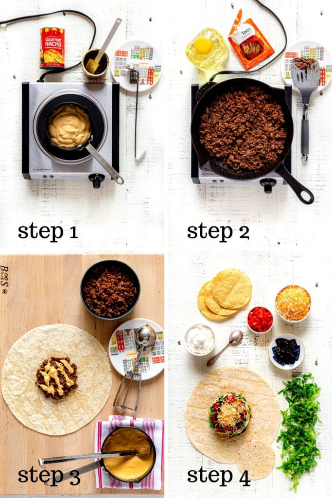 4 images showing how to make a Taco Bell crunchwrap supreme at home, step by step.