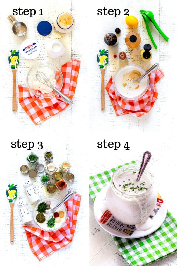 How to make buttermilk ranch dressing, step by step, as shown in 4 overhead images.