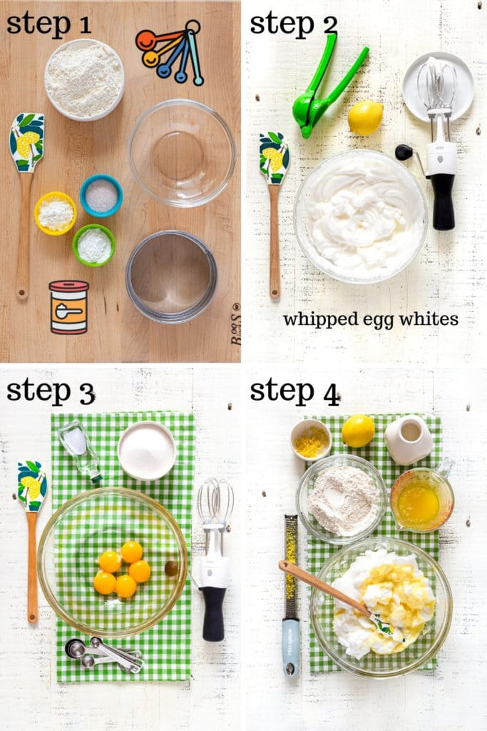 4 images showing how to make strawberry shortcake. It's the recipe for strawberry shortcake cups.