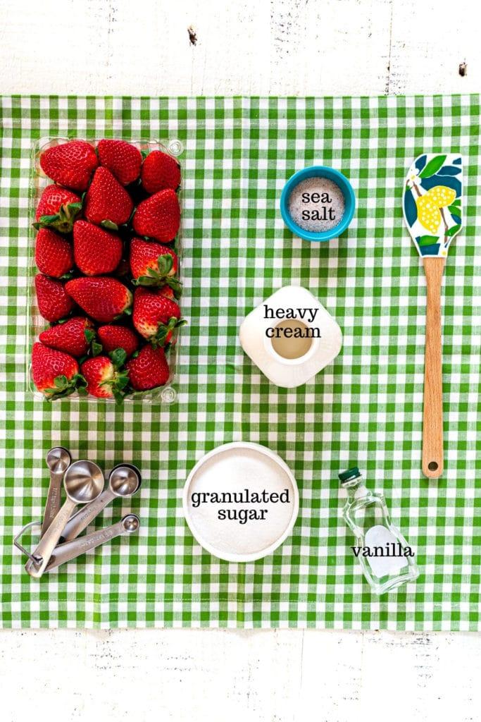 Ingredients for strawberry shortcake filling: strawberries, granulated sugar, heavy cream, sea salt, vanilla extract.