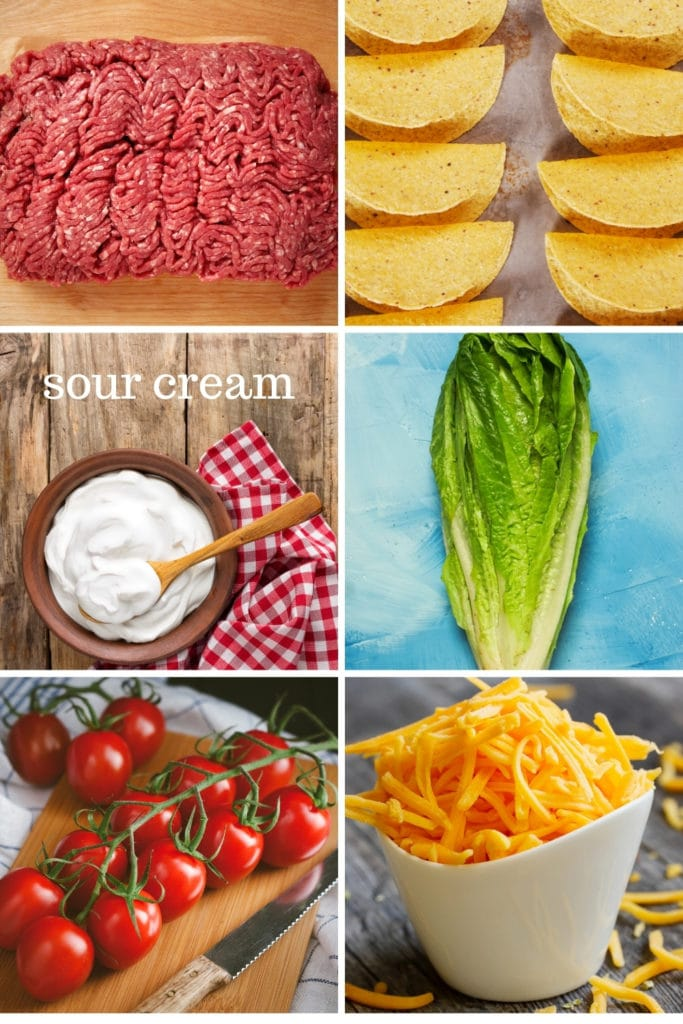 Ingredients for making crunchy ground beef tacos.
