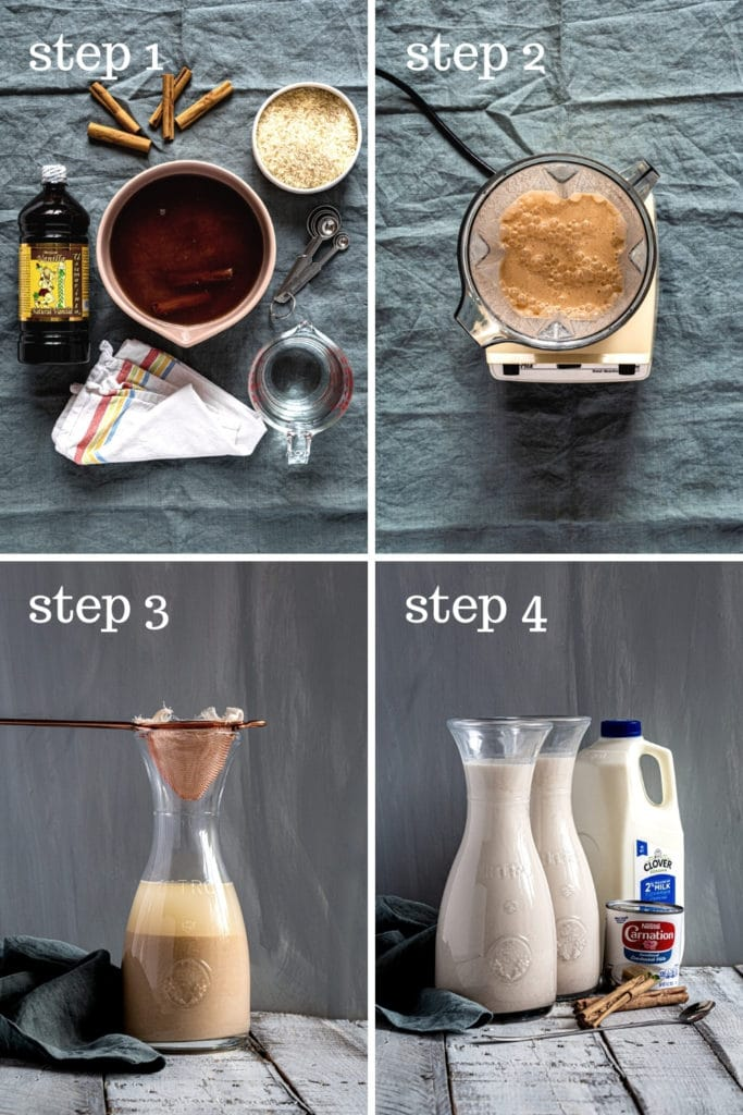 Four images showing how to make agua frescas horchata, step by step.
