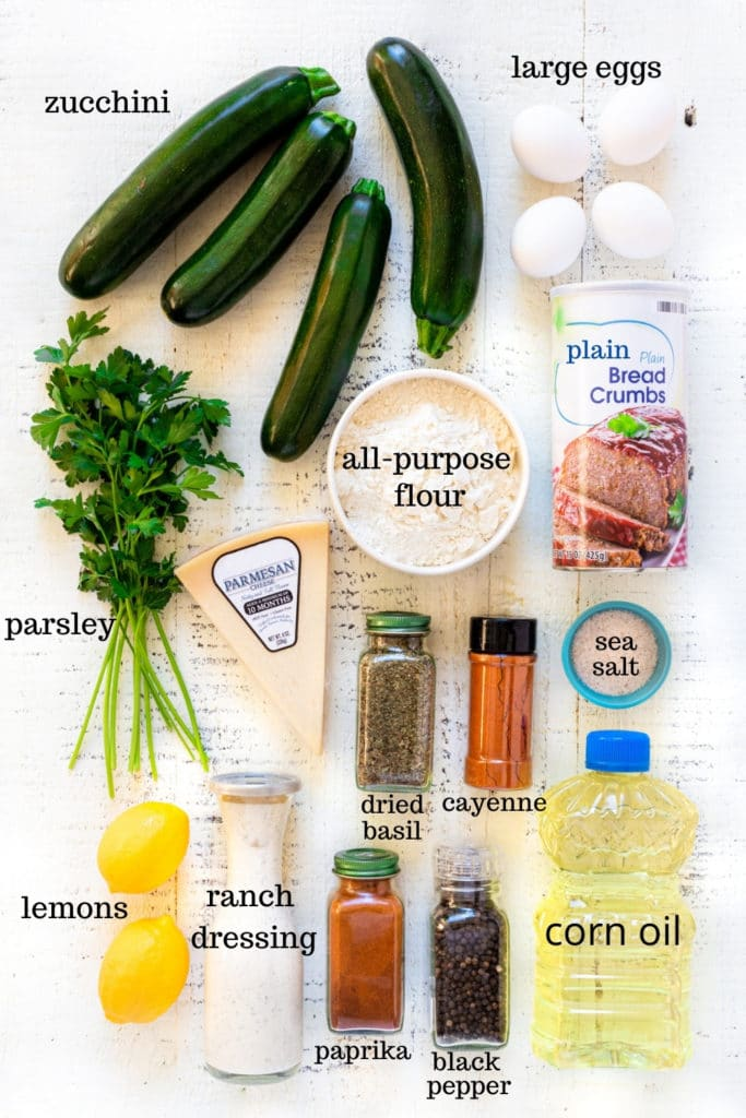 Ingredients for fried zucchini recipe.