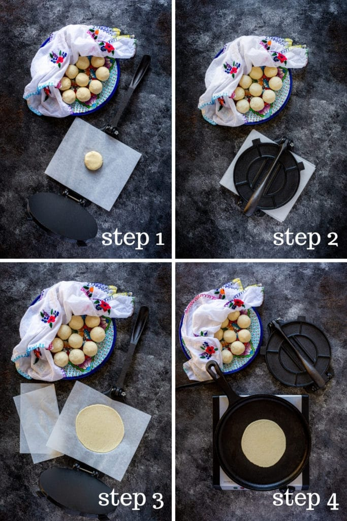 How to cook corn tortillas in 4 step-by-step images.