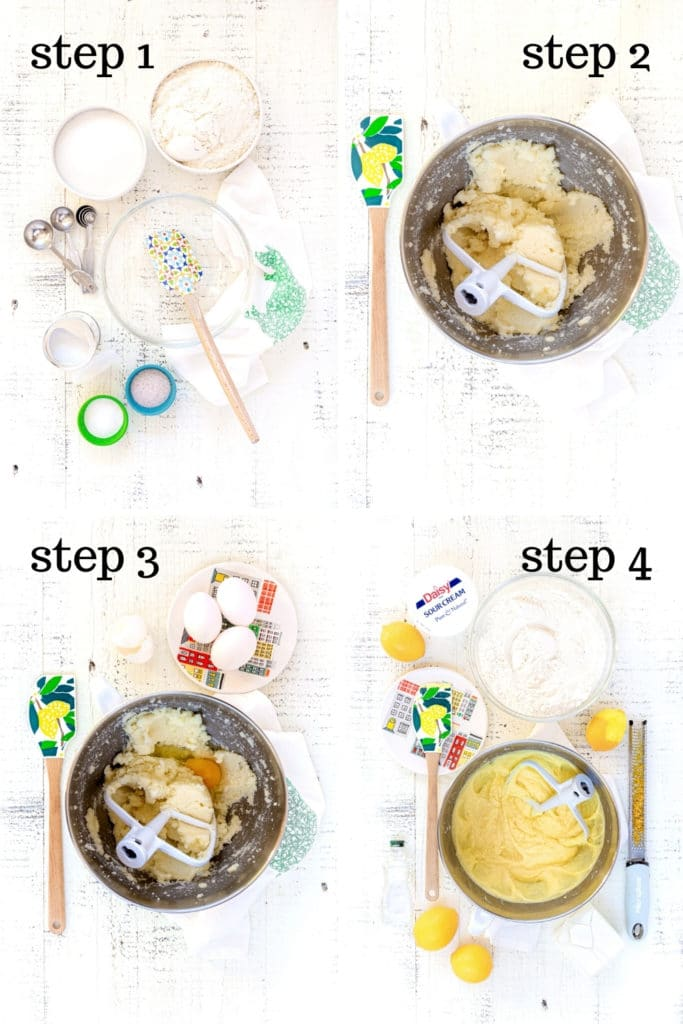 How to make lemon cake recipe shown in 4 step-by-step images.