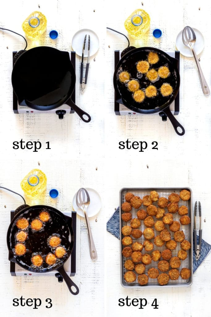 How to make fried zucchini step by step as shown in 4 overhead images.