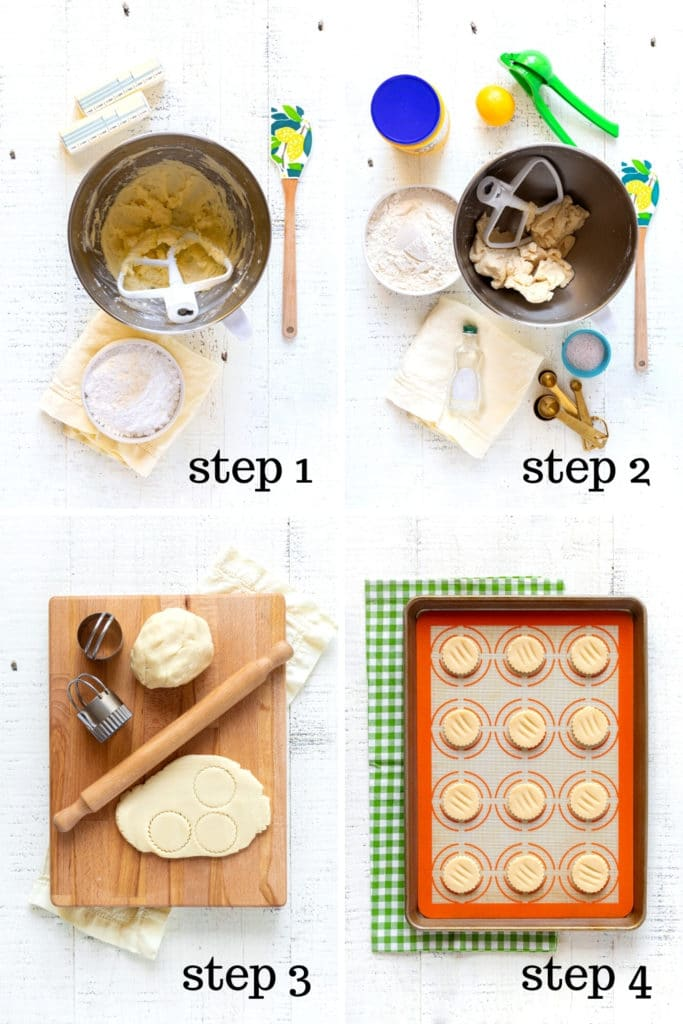 How to make wafer cookies for homemade Golden Oreos in 4 overhead step-by-step images.