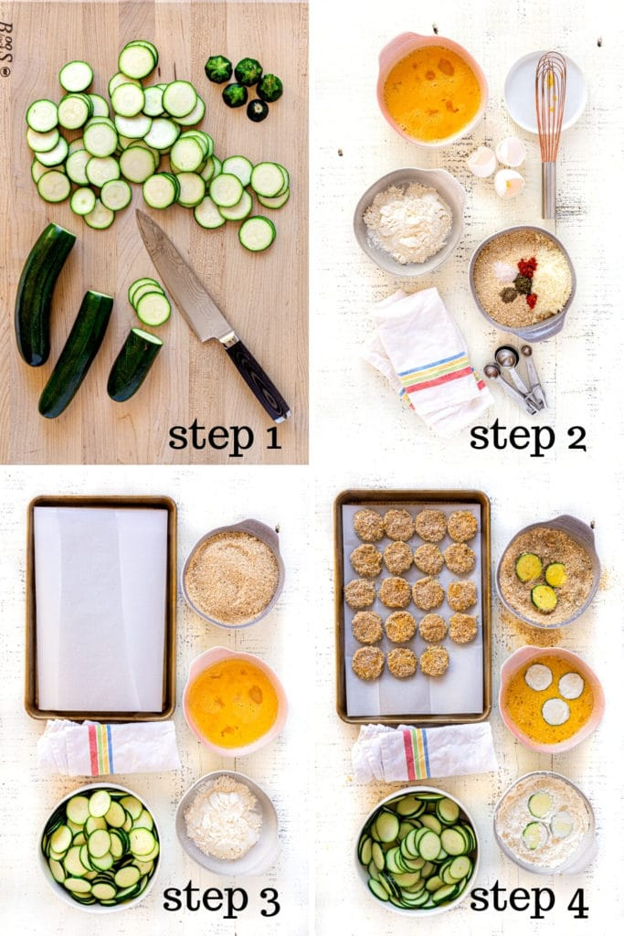 Fried zucchini recipe shown in 4 overhead step-by-step images.