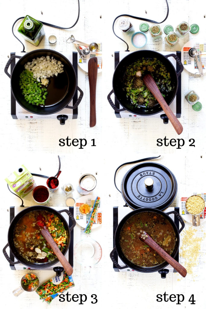How to make vegetable soup (ABC soup) in 4 step-by-step images.