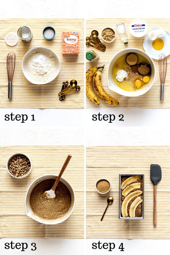 How to make banana bread with walnuts, as shown in 4 step-by-step images.