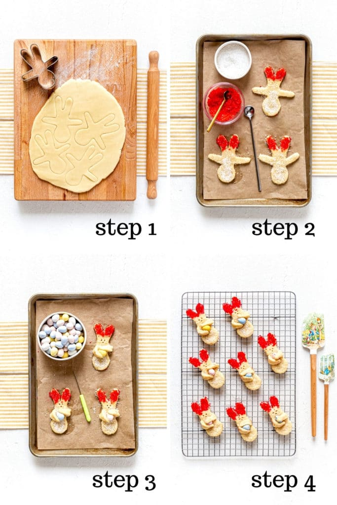 How to cut and decorate Easter sugar cookies as shown in 4 step-by-step images.