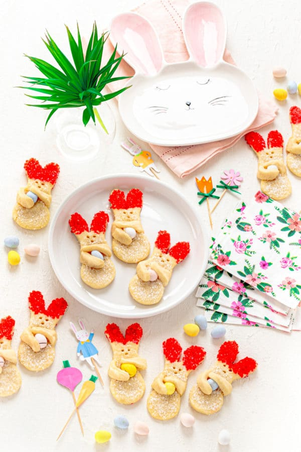 Bunny Cookies for Easter on a Sunday brunch table.