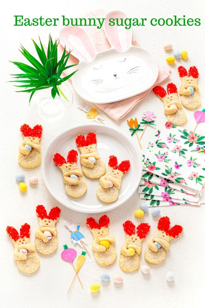 Pinterest graphic for bunny cookies (Easter sugar cookies).