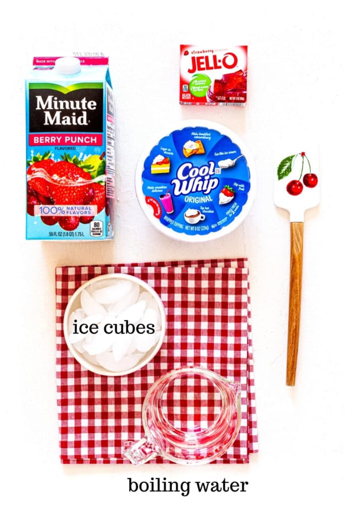 Ingredients for Strawberry Jello Pie filling with Cool Whip.
