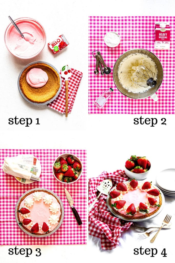 How to assemble a no-bake Jello Cool Whip Pie with strawberries in 4 easy steps.
