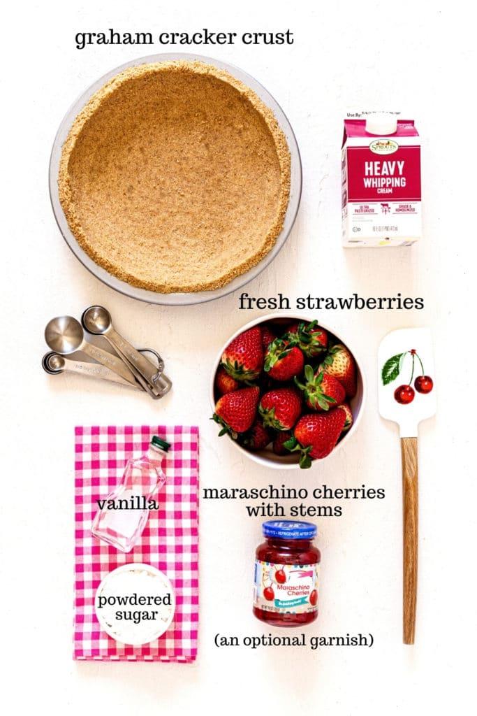 Graham cracker crust and toppings for Strawberry Jello Pie, an easy no-bake dessert.
