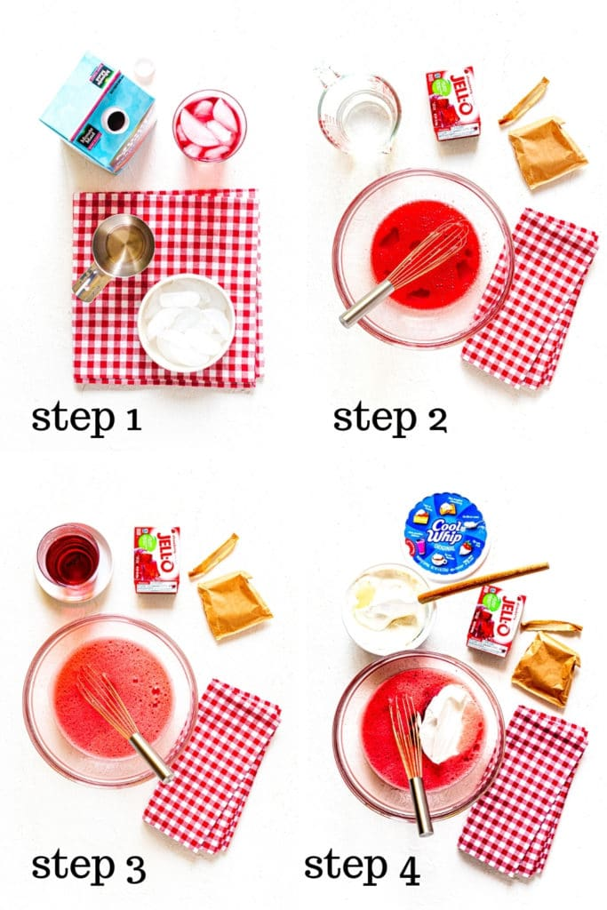 How to make filling for strawberry pie recipe with Jello, in 4 step-by-step images.