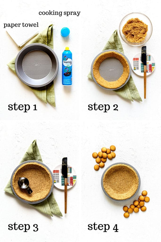 How to make a vanilla wafer crust, shown in 4 step-by-step images.