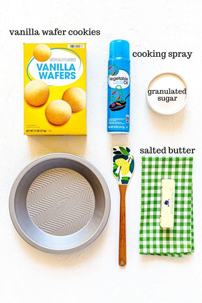 Ingredients for homemade vanilla wafer crust (AKA: Nilla wafer crust).