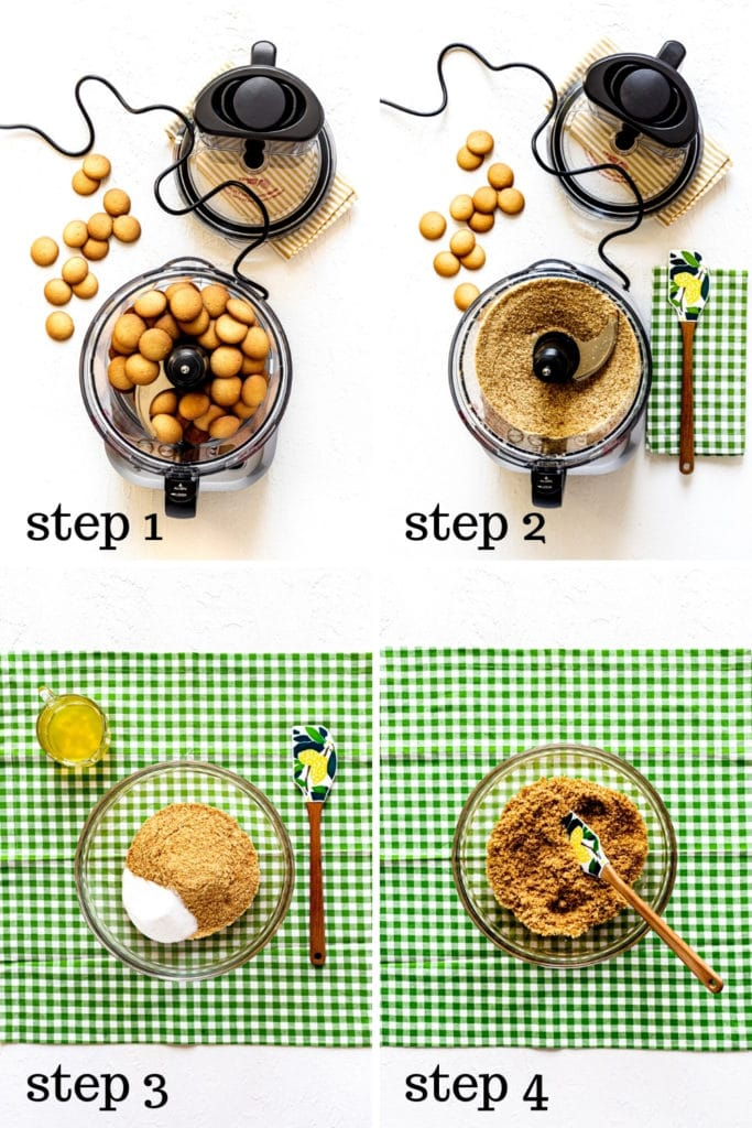 Vanilla wafer crust recipe, as shown in 4 step-by-step images.