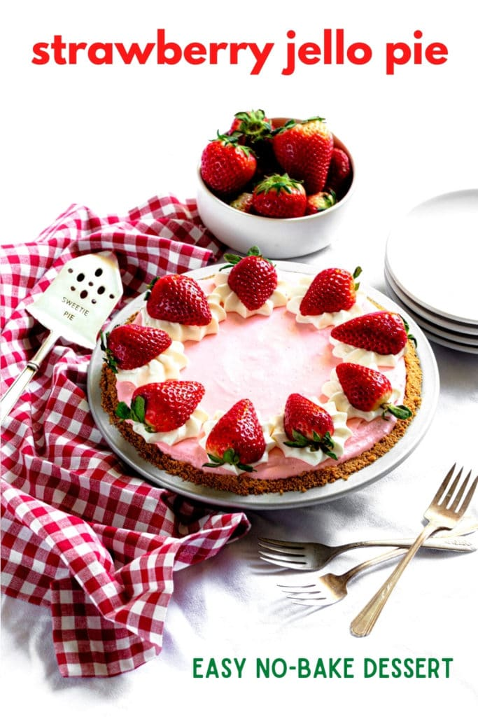 Pinterest graphic for strawberry Jello pie with Cool Whip.