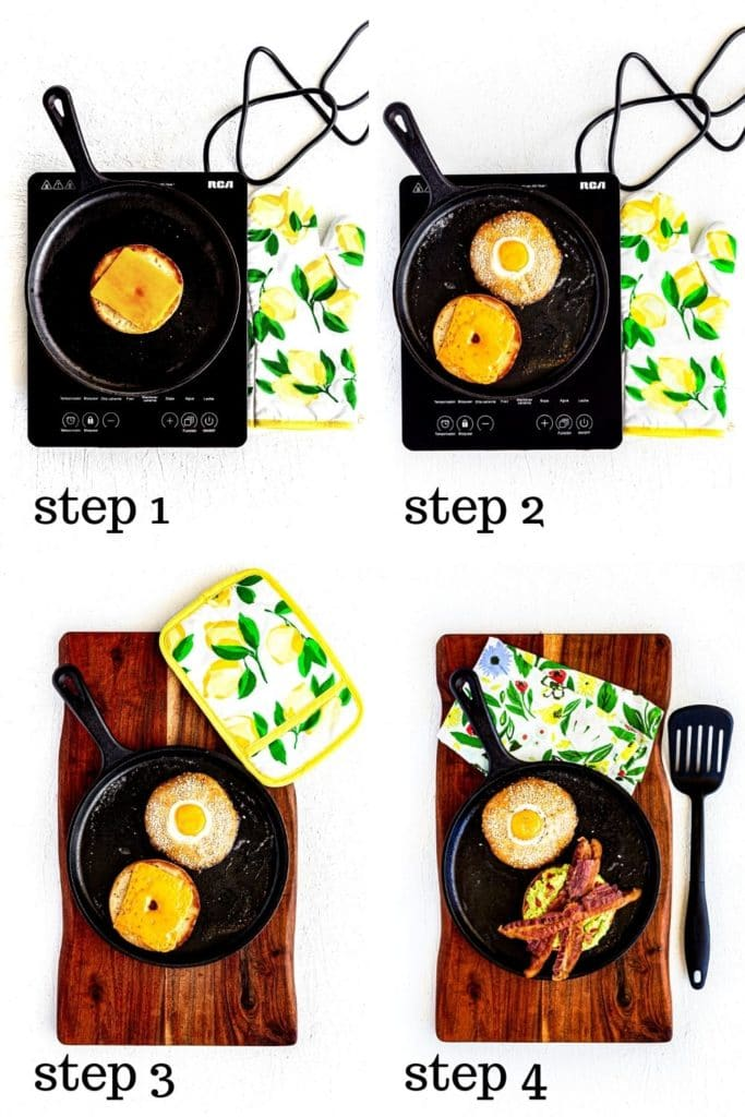 How to make a bagel breakfast sandwich step by step, shown in a 4-image collage.