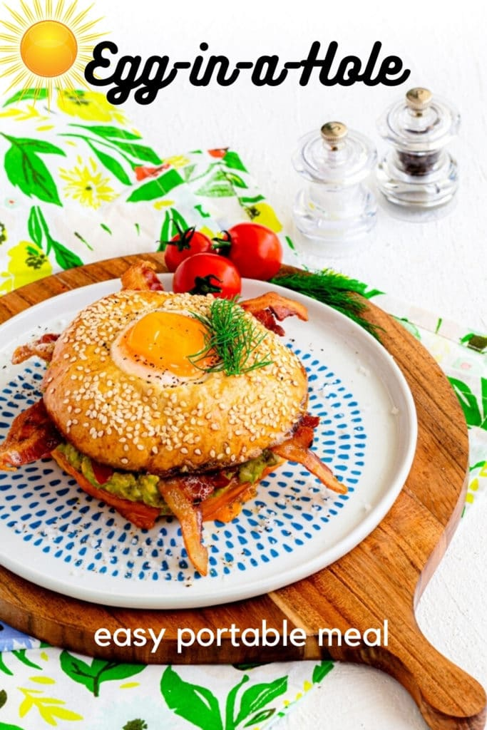 Pinterest graphic for egg-in-a-hole bagel breakfast sandwich.