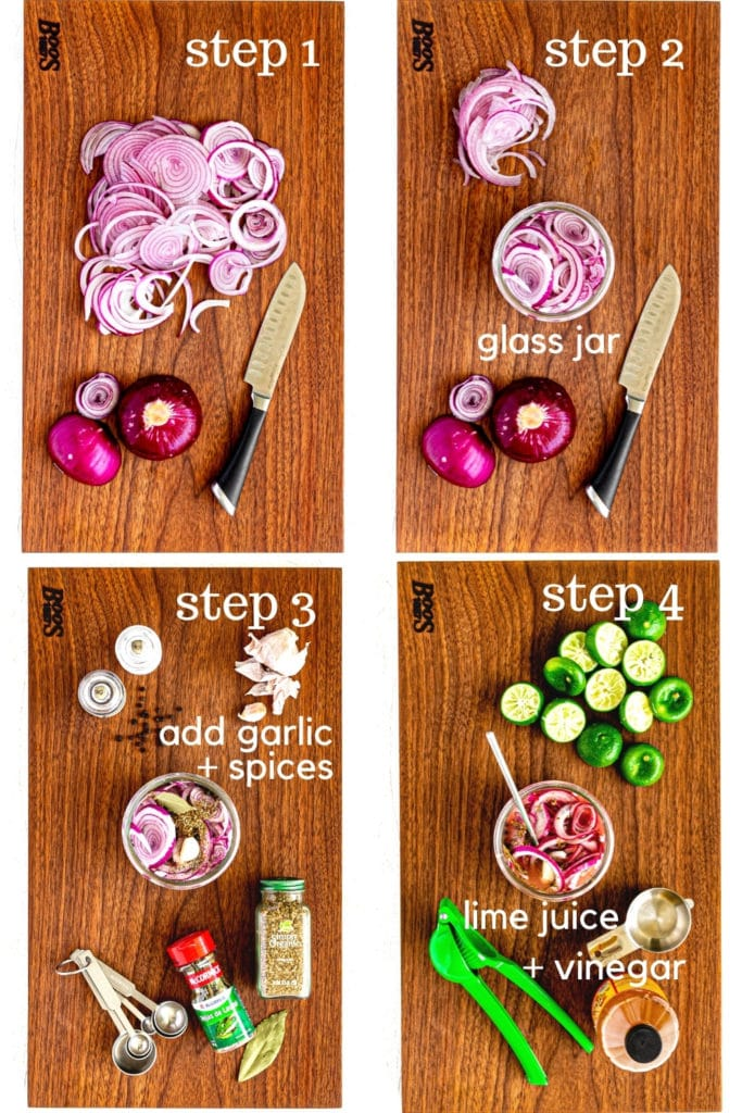 How to make pickled red onions step by step, as shown in a 4-image collage.