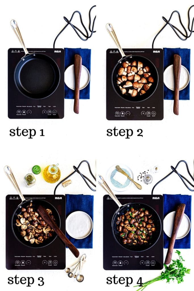 How to saute mushrooms as shown in 4 detailed step-by-step images.