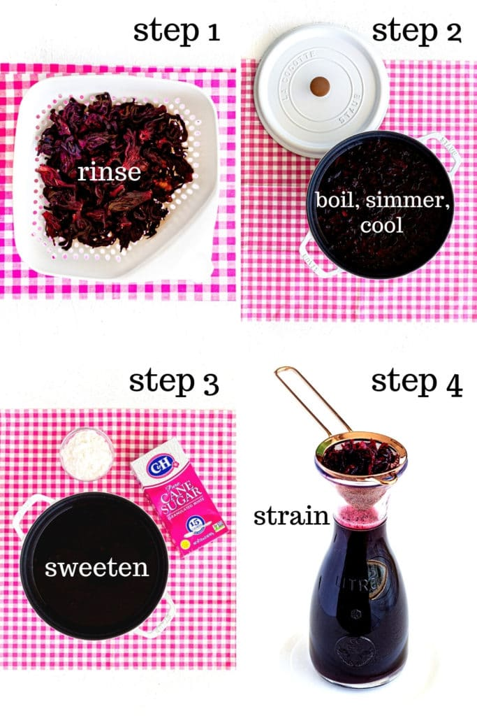 Four-image collage: How to make Hibiscus Tea (Agua de Jamaica) step by step.