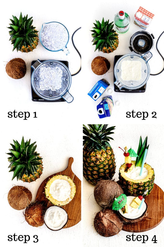 How to make a pina colada step by step as shown in 4-overhead images.